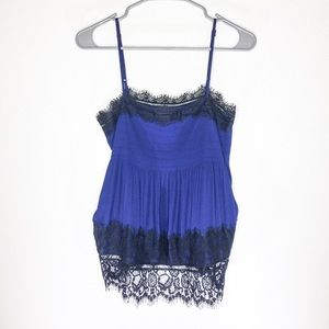 EXPRESS Blue and Black Lace Cami